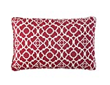 WAVERLY Indoor/Outdoor Decorative Throw Cushion – 19 x 12 Inches, FILLING INCLUDED, Available in Many Designs, Comfortable and Durable (Lov Latt RED)
