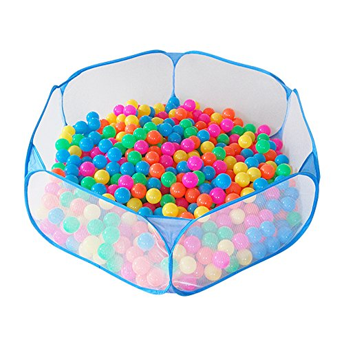 Jacone Portable Cute Hexagon Playpen Children Ball Pit ,Indoor and Outdoor Easy Folding Ball Play Pool Kids Toy Play Tent with Carry Tote (Blue)