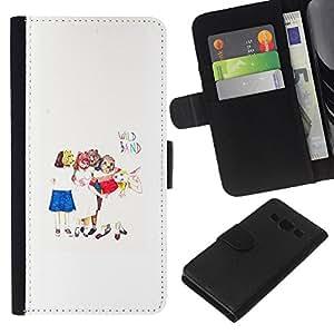 KLONGSHOP // Tirón de la caja Cartera de cuero con ranuras para tarjetas - Arte para niños Blanco Minimalista - Samsung Galaxy A3 //