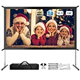 Projector Screen with Stand, Rear Projector Screen 120 inch 4K HD Outdoor/Indoor Portable Projector Screen 16:9 Foldable Movie Screen with Carry Bag for Wedding Presentation Camping Backyard Movie