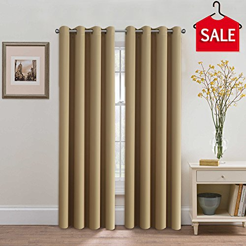 H.Versailtex Blackout Thermal Insulated Room Darkening Winow Treatment Extra Long Curtains / Drapes,Grommet Panels (Set of 2,52 by 108 - (Dark Brown Cream Shade)