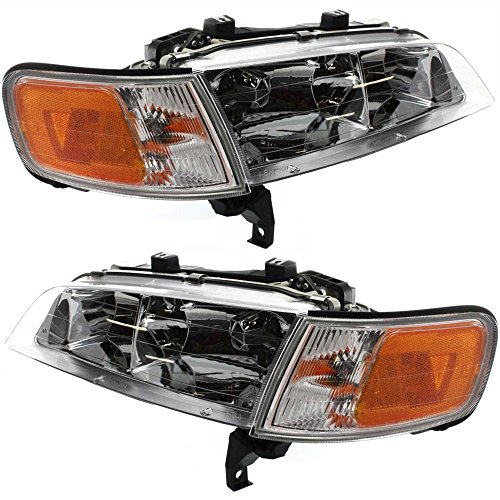 Evan-Fischer EVA13572056162 Headlight Set Of 2 For Accord 94-97 Right and Left Side Assembly Halogen W/Corner (97 Honda Accord Right Headlight)