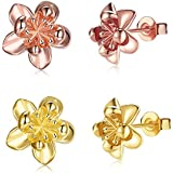 2 Pairs Gold / 18K Rose Gold Plated Flower Stud Earrings For Women Girls