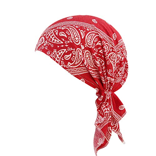 OSTELY Ruffle Cancer Chemo Hat Ethnic Style Print Indian Hat Baotou Hat Tail Muslim Hat Turban Head Wrap Cap(Red)