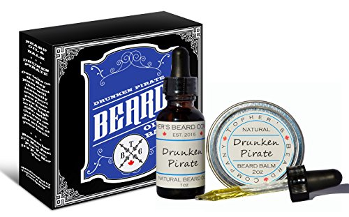 Drunken Pirate (Bay Rum) Premium Scented Beard Oil and Balm Combo (1oz & 2oz) – Topher's Beard Company for Growth, Moisturizing and - For Best Beard Face My Style