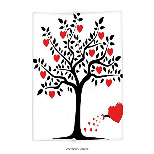 Custom printed Throw Blanket with Valentines Day Decor Love Themed Tree with Heart Romance Fruits Leaves Forest Couple Art Black and Red Super soft and Cozy Fleece Blanket