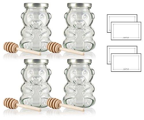 9 oz / 270 ml Honey Bear Glass Jar with Gold Metal Plastisol