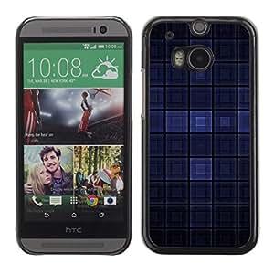 PC/Aluminum Funda Carcasa protectora para HTC One M8 Blue Dark Modern Wallpaper Checkered Square / JUSTGO PHONE PROTECTOR