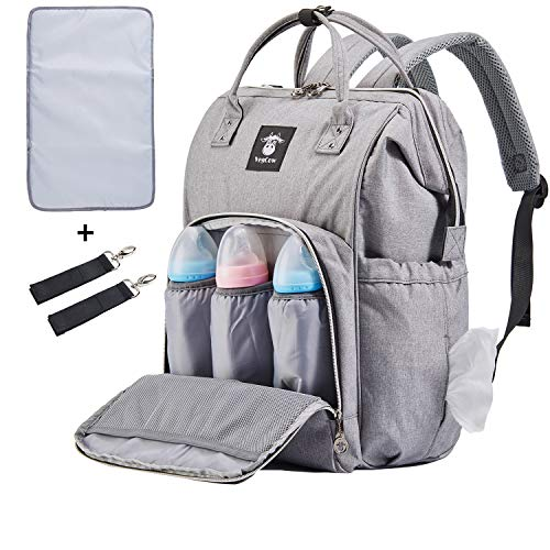 Extra Large Diaper Bag Backpacks, Wide Opening Baby Diaper Bags for Mom Dad, FRANK MULLY Men Diaper Bag with Changing Pad Stroller Straps Insulated Pockets Gray, Perfect Baby Shower Gift -
