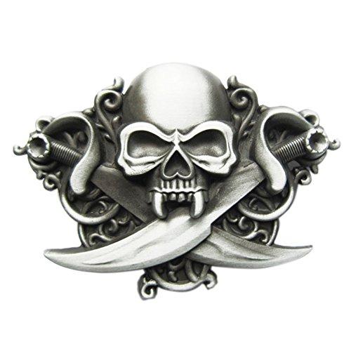 [New Vintage Cross Knife Emo Skull Biker Rider Belt Buckle Gurtelschnalle] (Emo Belt)