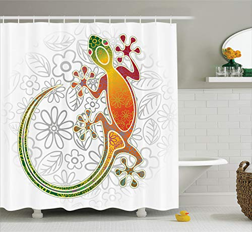 Ambesonne Batik Shower Curtain, Native Southeast Common House Gecko Moon Lizard Tropical Monster Graphic Design, Cloth Fabric Bathroom Decor Set with Hooks, 70