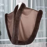 Womens Real Cashmere Semicircle Poncho Real Fox Fur Trim All Around