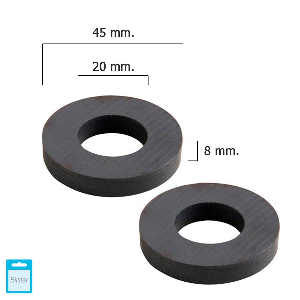 WOLFPACK 5411115 Wolpack Magnet Ferrite Rings 36 x 17 x 6 mm Blister pack of 2 A Forged Tool