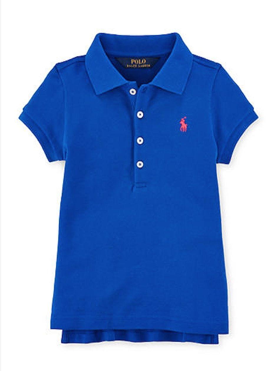 Ralph Lauren Girls Cotton Piqu/é Stretch Mesh Polo Shirt Size Medium M Pacific Royal