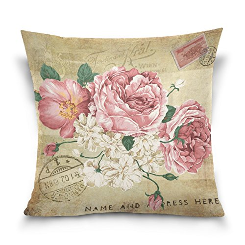 ZOEO Square Decorative Throw Pillow Case Cushion Cover,Vintage Shabby Chic Pink Rose Floral,Soft Pillowcase 16x16 - Print Pillow Rose