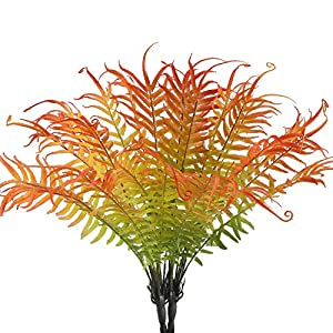 HUAESIN 2pcs Artificial Fern Plant Ostrich Fake Fern Stems Plastic for Wall Indoor Outside Hanging Basket Planter Floral Wedding Greenery Red 79