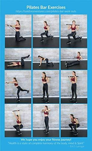 Spirited Namaste – Kit de entrenamiento portátil para pilates/yoga, barra corporal y palo para tonificar el hogar con 3 bandas de resistencia: accesorios, bandas de entrenamiento de suspensión con correa para el pie y banda de gimnasio de pilate 6