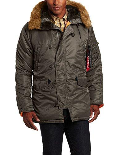 Faux Fur Trim Parka (Alpha Industries Men's N-3B Slim-Fit Parka Coat with Removable Faux-Fur Hood Trim (XX-Large, Replica Grey/Orange))