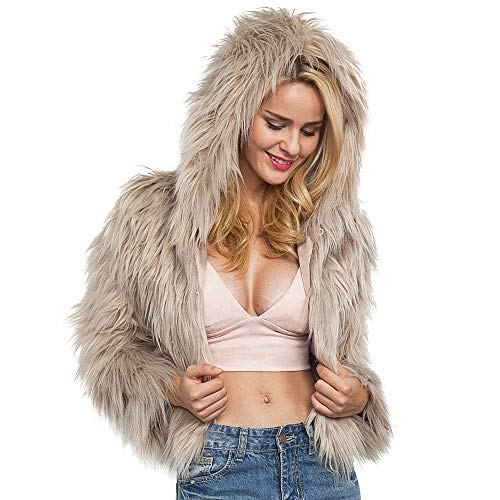 Yellow Jackets Sport Steel Watch - Seaintheson Clearance Womens Ladies Elegant Short Faux Fur Winter Warm Coat Jacket Solid Hooded Parka Outerwear Overcoat