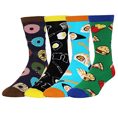 Zmart Men's 4 Pack Crazy Novelty Cotton Funny Food Dress Crew Socks Gift (Groomsmen Gifts Baseball)