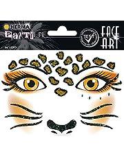 HERMA 15303 Face Art Sticker luipaard gezicht sticker glitter sticker voor carnaval, Halloween, dermatologisch getest