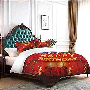 Image of dsdsgog Bedroom Three-Piece Bedding 36th Birthday,Cute Fluffy Flying Party Balloons with Colored Curly Ropes Print,Red Green and Blue 90x104 inch Children Sleeping Mats Home and Kitchen