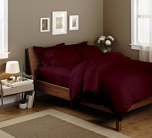 Sao's Silvalinen Ultra Soft Duvet Set 100% Egyptian cotton 600TC Solid (Cal-King, Wine) by Sao's Silvalinen