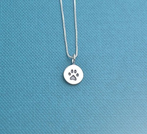 Jewelry Paw Dog (Teen's or Woman's Paw Print necklace in sterling silver on an 18 inch sterling silver box chain. Dog necklace. Dog jewelry. Paw Print Charm. Jewelry for girl. Gift for Teen. Gift for her.)