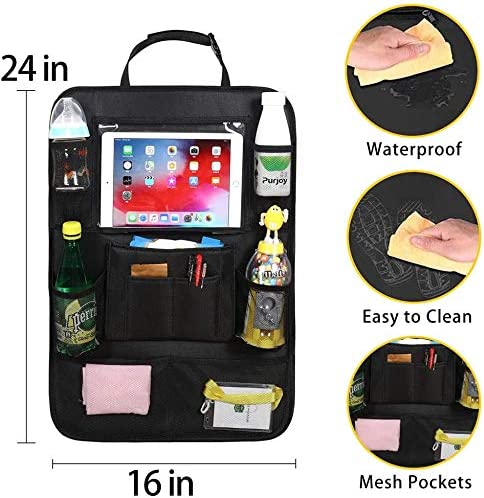 for Kids Car Organizer Kick Mats with 10 Touch Screen Tablet Holder 11 Storage Pockets Car Back Seat Protectors Backseat Child Kick Guard Seat Saver unknownn 2 Pack Car Backseat Organizer
