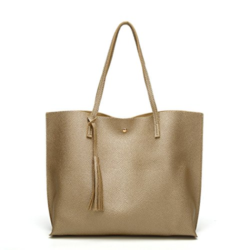Nodykka Women Tote Bags Top Handle Satchel Handbags PU Pebbled Leather Tassel Shoulder Purse,One Size,Gold3