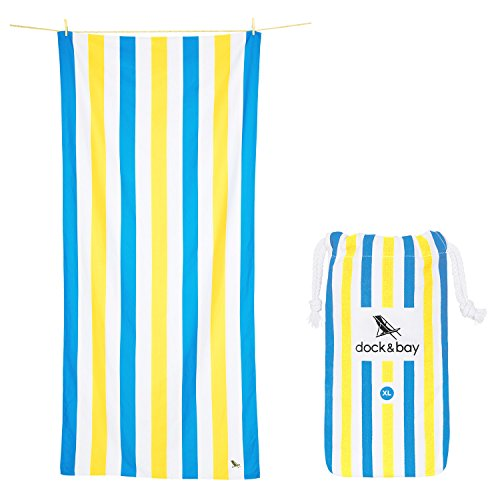 Great Collection Outdoors (Dock & Bay Towel Beach Acessories for Women - and Men, Blue & Yellow, Extra Large 78x35 - Beach Cabana, Swim, Pool, Yoga, Travelling - Summer Collection)