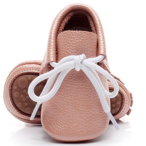 HONGTEYA Leather Baby Shoes Hard Sole Lace Up Solid Genuine Leather Girl Boys Handmade Toddler First Walkers (US7M 18-24Months 14cm 5.51