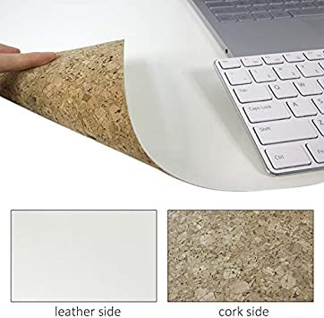 PRACMANU Cork /& Leather Eco-Friendly Natural Desk Mat Mouse Pad 31.5x15.7 Writing Extended PU Leather Smooth Surface Double-Sided Waterproof Multifunctional Slip Proof for Office//Home//Gaming Brown