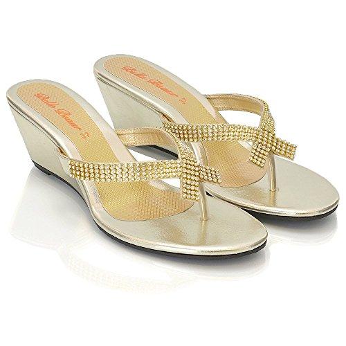Femmes Scintillante D'or Toe Post Partie De Taille 3 Métalliques Diamante Sandales 8 Dames Dressy Nouvelles Compensées dSqUdv