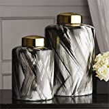 Tozai Home Abstracts Set of 2 Black and White Brush Stroke Covered Jars with Gold Metallic Lid