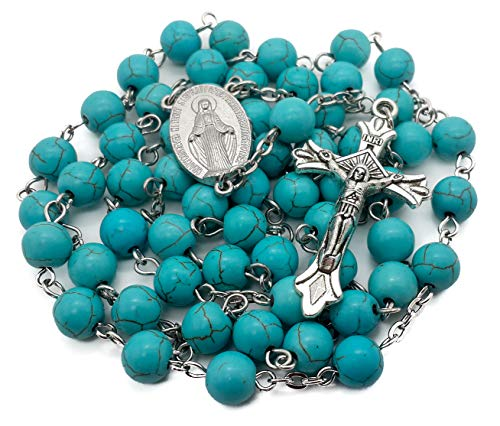 (Nazareth Store Turquoise Marble Beads Rosary Catholic Necklace with Miraculous Medal Cross Crucifix Silver Tone Rosaries in Velvet Bag)