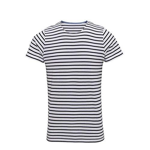 Asquith Fox Mens Mariniere Coastal Short Sleeve T-Shirt (XL) (White/Navy) ()