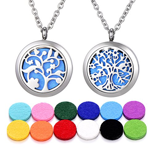 2 PCS Aromatherapy Essential Oil Diffuser Necklace Stainless Steel Pendant Locket Aroma Hyop-Allergenic Magnetic Locket Pendant 23.6 Inches Adjustable Chain and 12 Washable Refill Pads