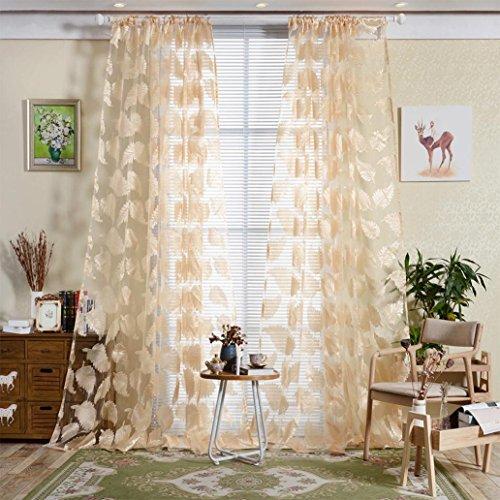 Kinghard Feather Sheer Curtain Tulle Window Treatment Voile Drape Valance 1 Panel Fabric ()