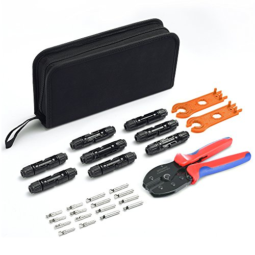 MICTUNING MC3 MC4 Solar Crimping Tool Kits with Wire Crimper, MC4 Spanner, MC4 Solar Connectors, Solar Connector Pins for 2.5/4.0/6.0mm² Solar Panel PV Cable by MICTUNING