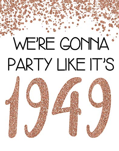 PGbureau 11x14 in 70th Rose Gold Birthday Party Decoration - Cheers to 70 Years Poster - Happy 70th Sign - for Women - Anniversary