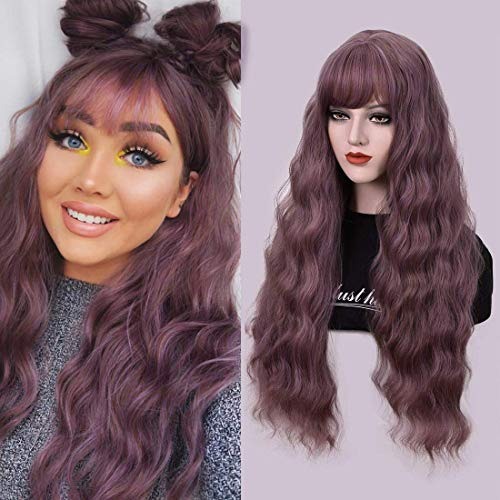 Dust Lavender Long Wavy Curly Wigs with Air Bangs for Women Girl 28'' Natural Looking Women's Lavender Water Wave Hair…
