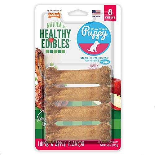 Nylabone Healthy Edibles Puppy Chew Treats, Lamb & Apple, Petite, 8 Count