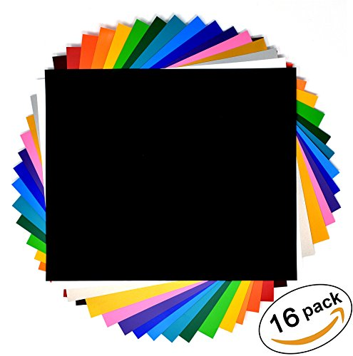 Heat Transfer Vinyl Iron-On Sheets with Storage Folder - 16 Pack, 12'' X 10'', Assorted Color Variety Bundle by Essential Craft & Home