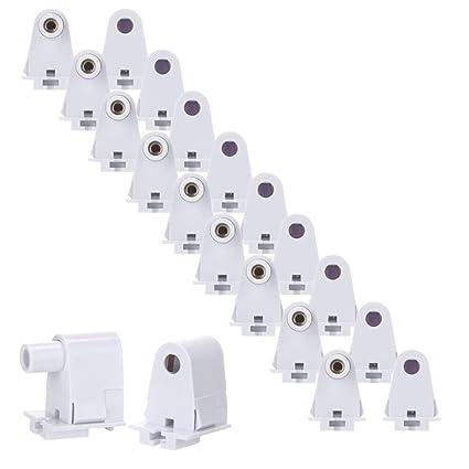 brillihood 10 pairs t8/t10/t12 single pin slimline fa8 tombstone base led tube  light replacement fluorescent plunger lampholder socket white - - amazon com