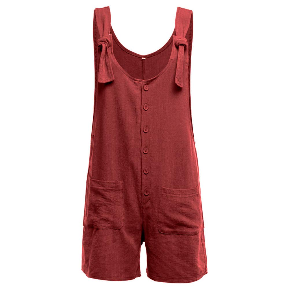 Womens Summer Casual Button Jumpsuit Jebess Linen Vintage Shift Spaghetti-Strap Short Rompers with Pocket