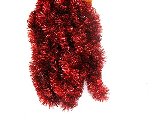 Fix Find Elegant Hanging Holiday Tinsel Garland 2.5-inches Thick x 15-feet - (Red Metallic Holiday Wreaths)