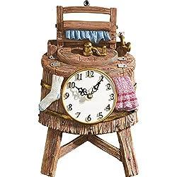 Vintage Wash Bucket Shaped Wall Clock, Brown