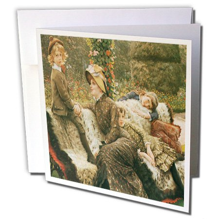 3dRose BLN Paintings of Children Fine Art Collection - The Garden Bench c. 1882 by James Jacques Joseph Tissot - 1 Greeting Card with envelope (gc_169714_5)