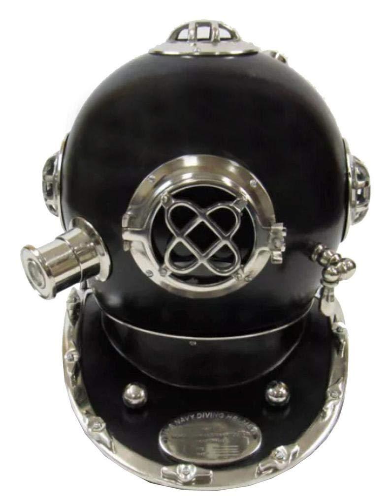 Royal Victorian Export 18'' Vintage Solid Brass Copper Finish Scuba Divers Diving Black Helmet US Navy Mark V